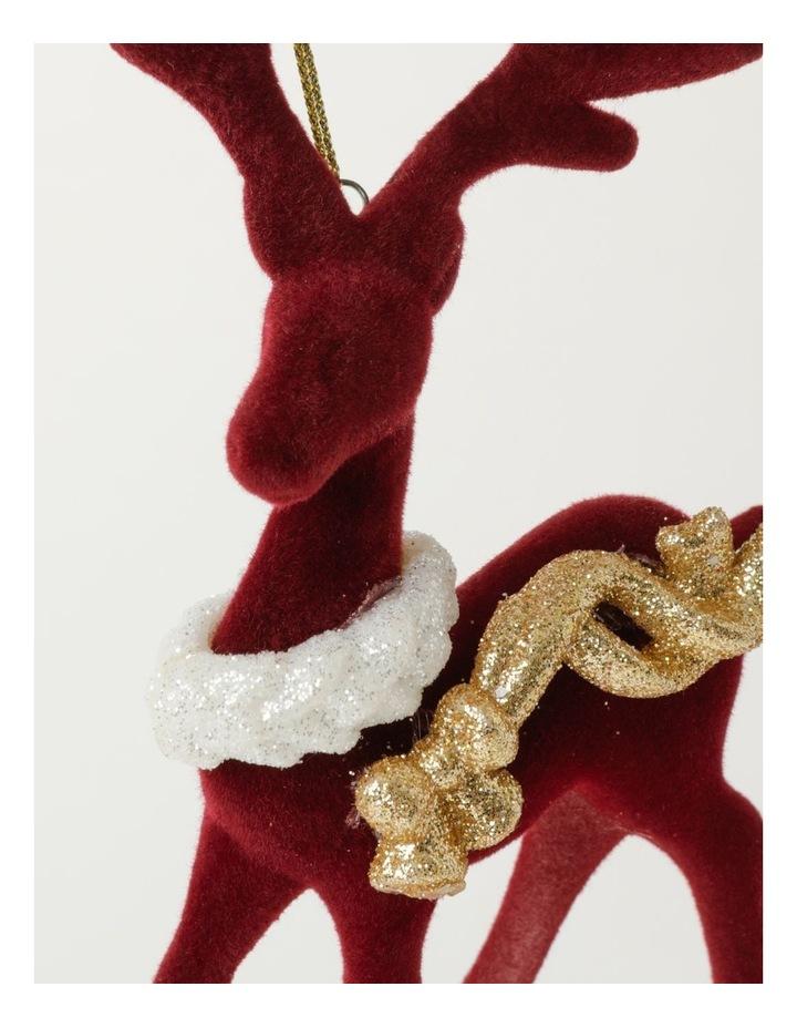 Heirloom Velvet Reindeer Ornament- Red: 15cm image 3