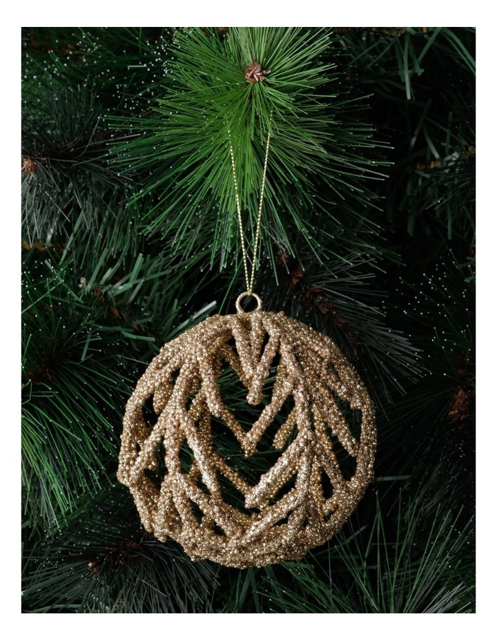 Luxe Beaded Cage Bauble- Champagne: 10cm image 1