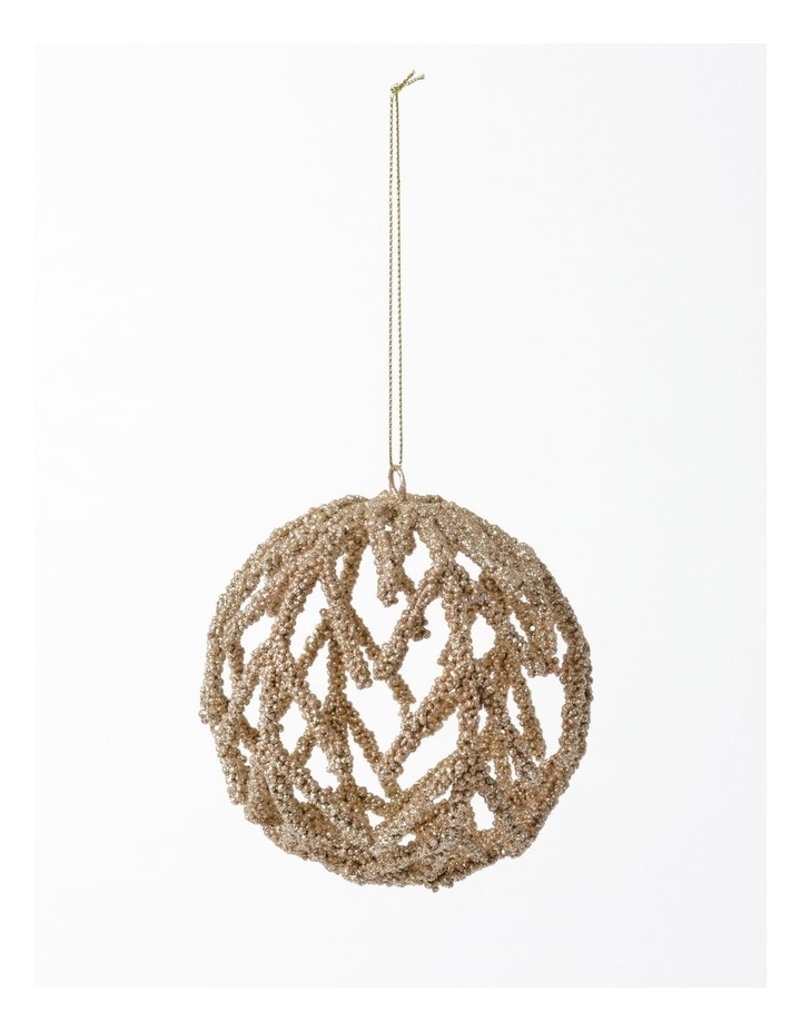 Luxe Beaded Cage Bauble- Champagne: 10cm image 2