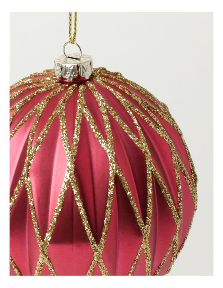 Heirloom Plastic Embossed Diamond w/Glitter Bauble- Red: 8cm image 3