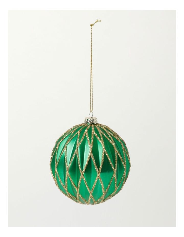 Heirloom Plastic Embossed Diamond w/Glitter Bauble- Green: 8cm image 2