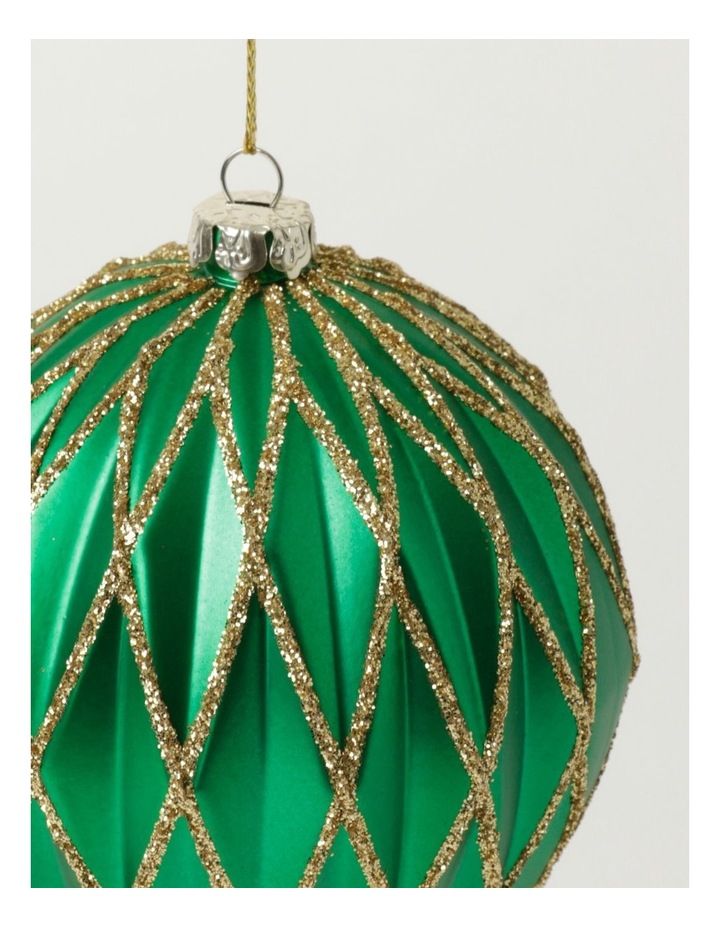 Heirloom Plastic Embossed Diamond w/Glitter Bauble- Green: 8cm image 3