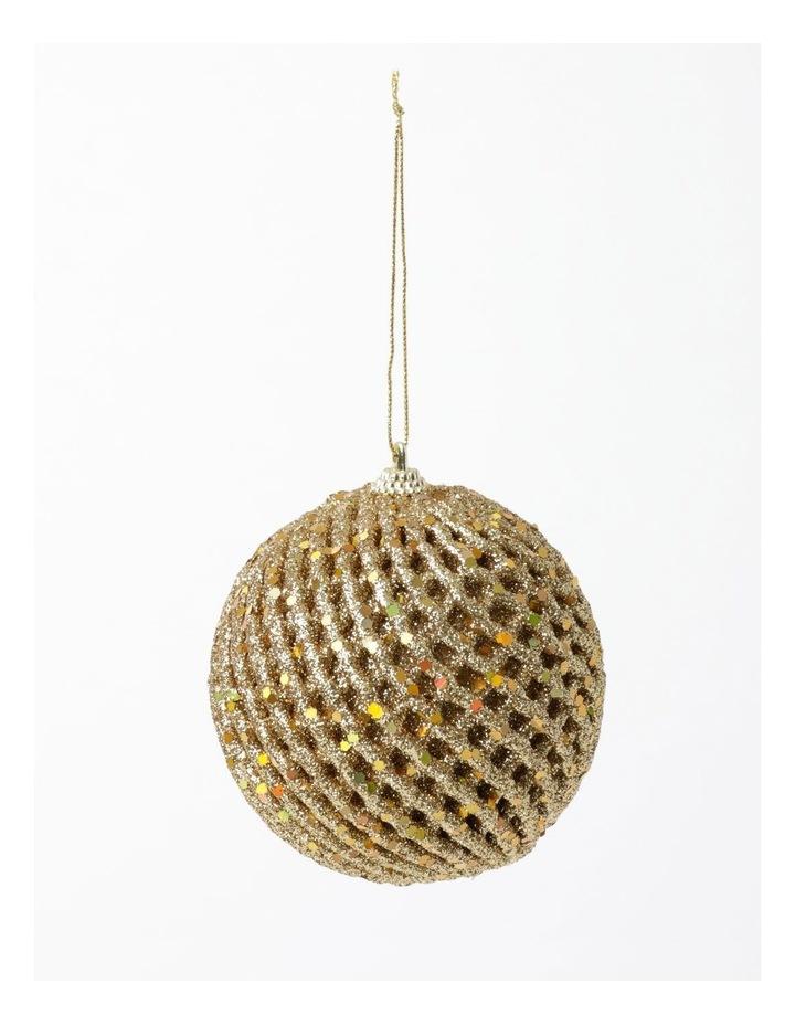 Heirloom Glittered Weave Bauble- Gold: 8cm image 2