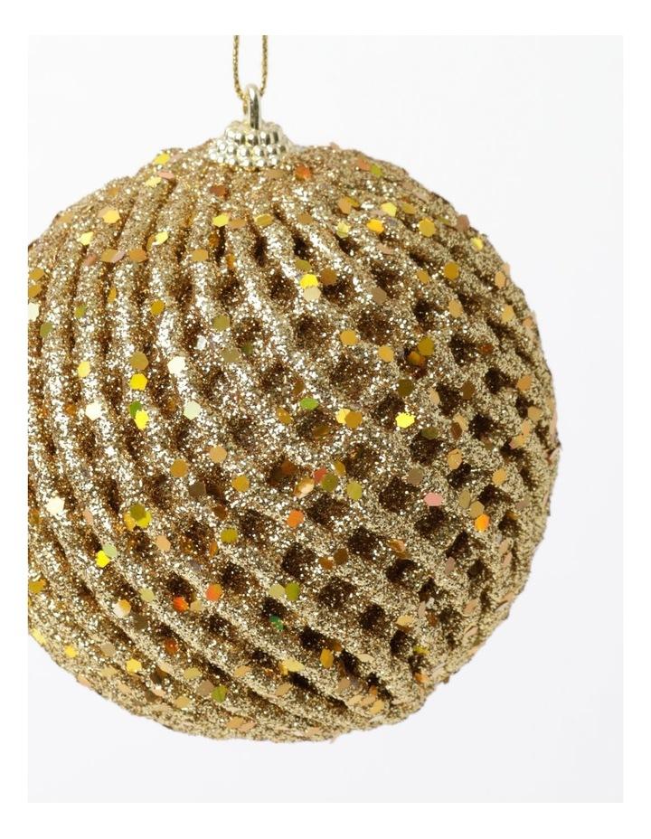 Heirloom Glittered Weave Bauble- Gold: 8cm image 3