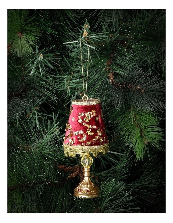 Heirloom Velvet Vintage Table Lamp Ornament- Red: 13cm image 1