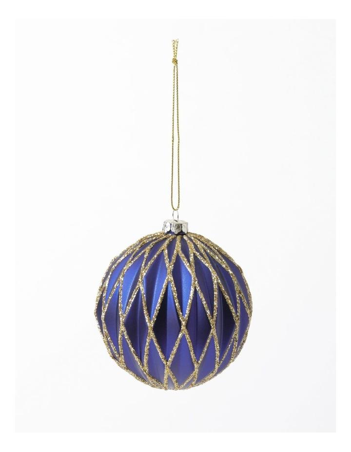 Heirloom Plastic Embossed Diamond w/Glitter Bauble- Blue: 8cm image 2