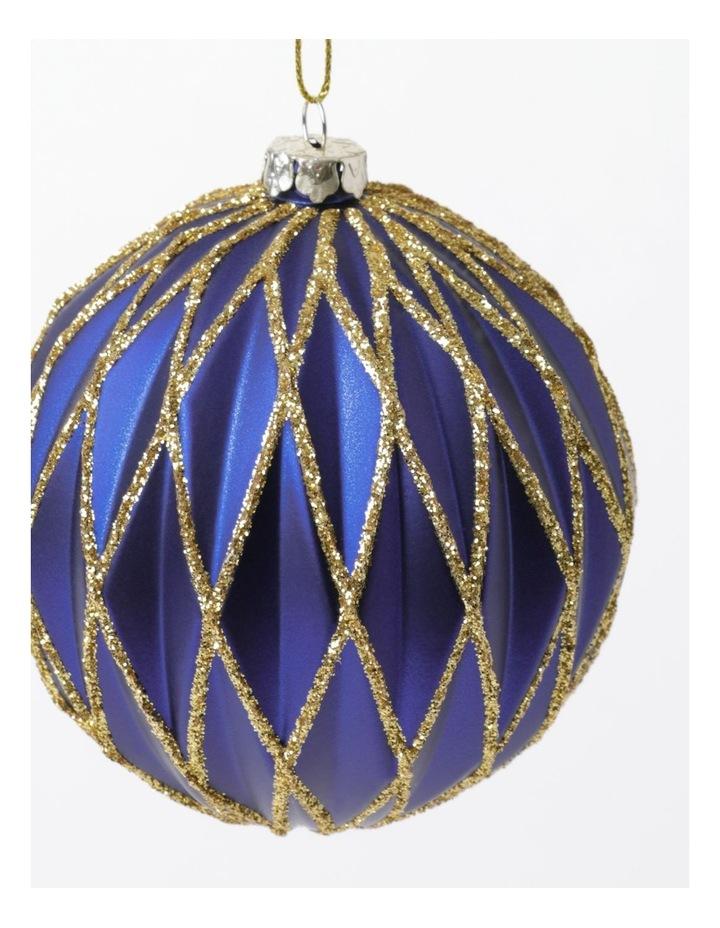 Heirloom Plastic Embossed Diamond w/Glitter Bauble- Blue: 8cm image 3
