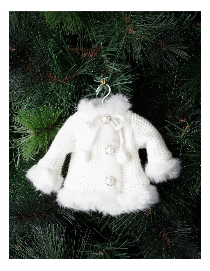 Luxe Fabric Knitted Overcoat Ornament- Cream: 14cm image 1