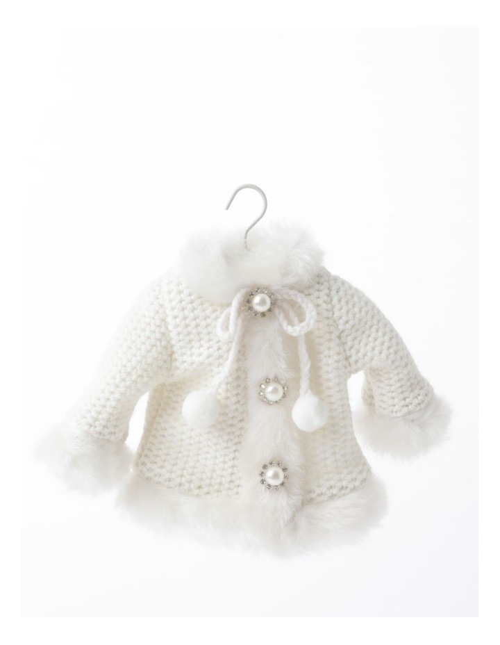 Luxe Fabric Knitted Overcoat Ornament- Cream: 14cm image 2