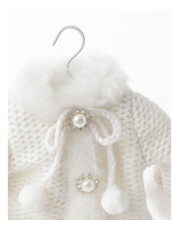 Luxe Fabric Knitted Overcoat Ornament- Cream: 14cm image 3