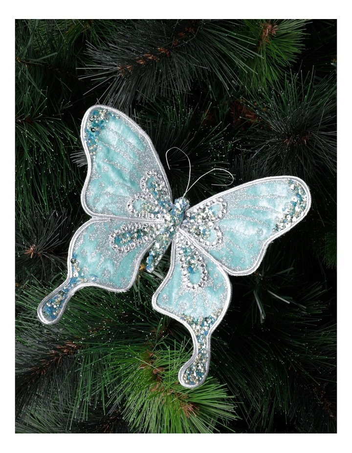 Luxe Velvet & Sequin Butterfly Clip- Mint: 15cm image 1