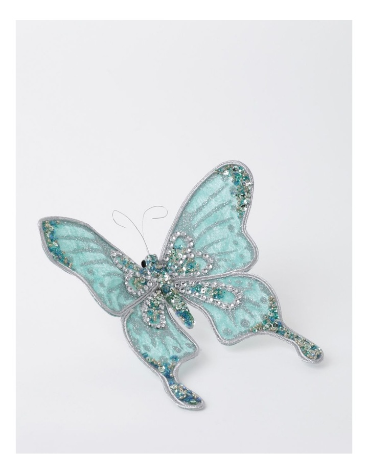 Luxe Velvet & Sequin Butterfly Clip- Mint: 15cm image 2