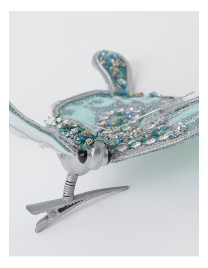 Luxe Velvet & Sequin Butterfly Clip- Mint: 15cm image 3