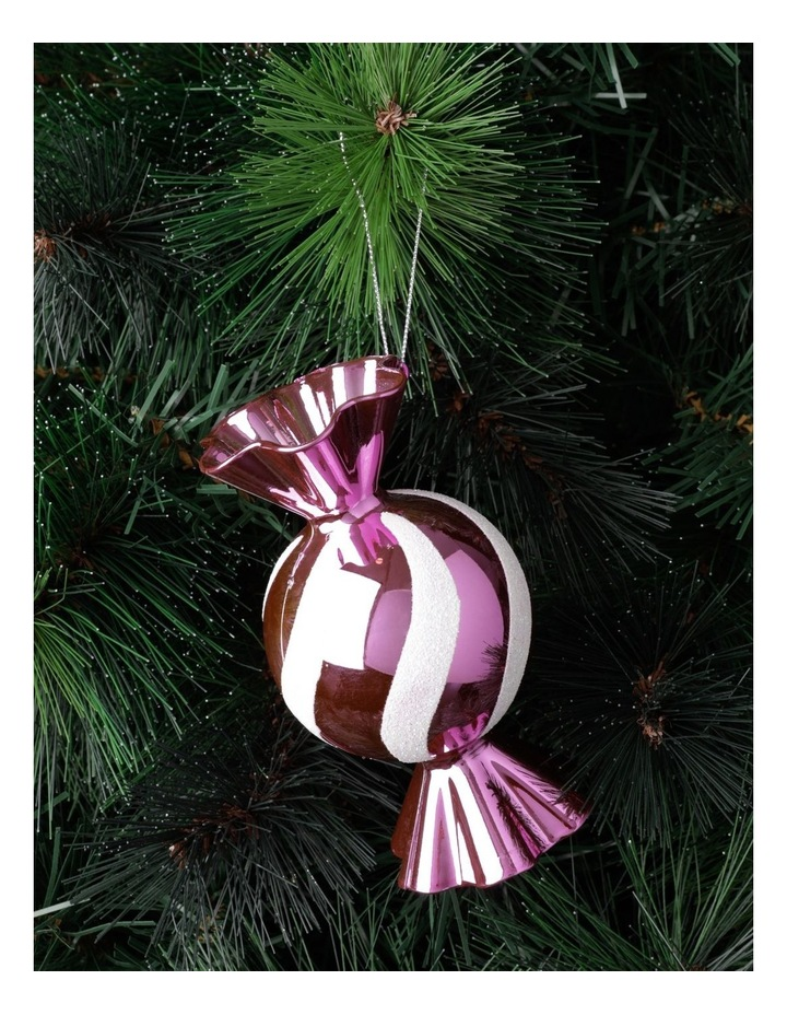 Merry & Bright Plastic Candy Ornament- Pink: 12cm image 1