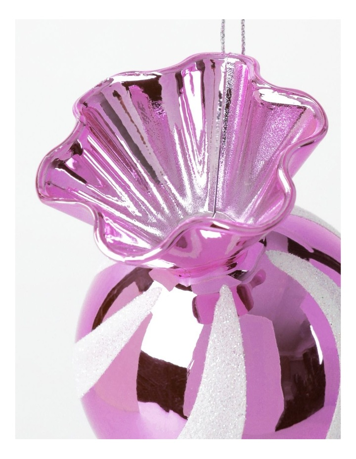 Merry & Bright Plastic Candy Ornament- Pink: 12cm image 3