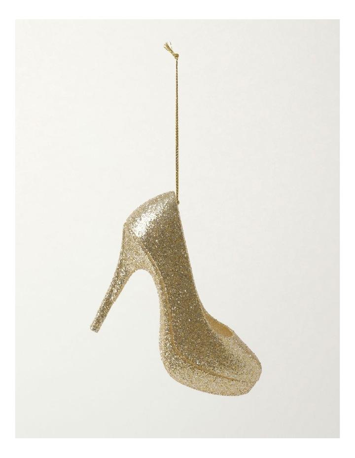 Luxe Plastic Glittered Heel Ornament- Champagne: 12cm image 2