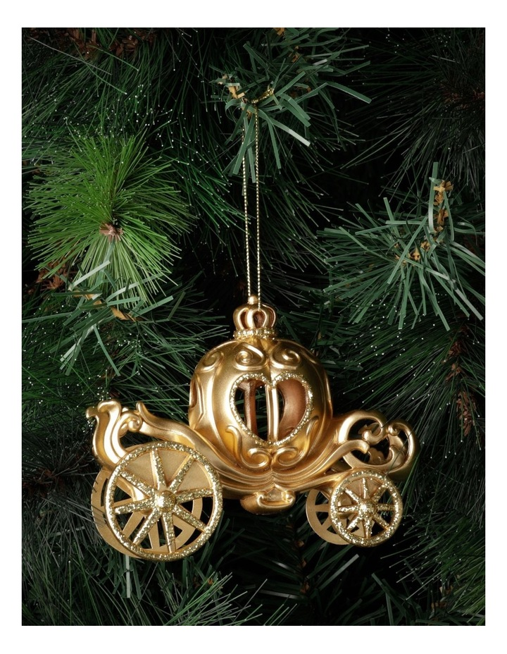 Luxe Plastic Royal Carriage Ornament- Gold: 13cm image 1