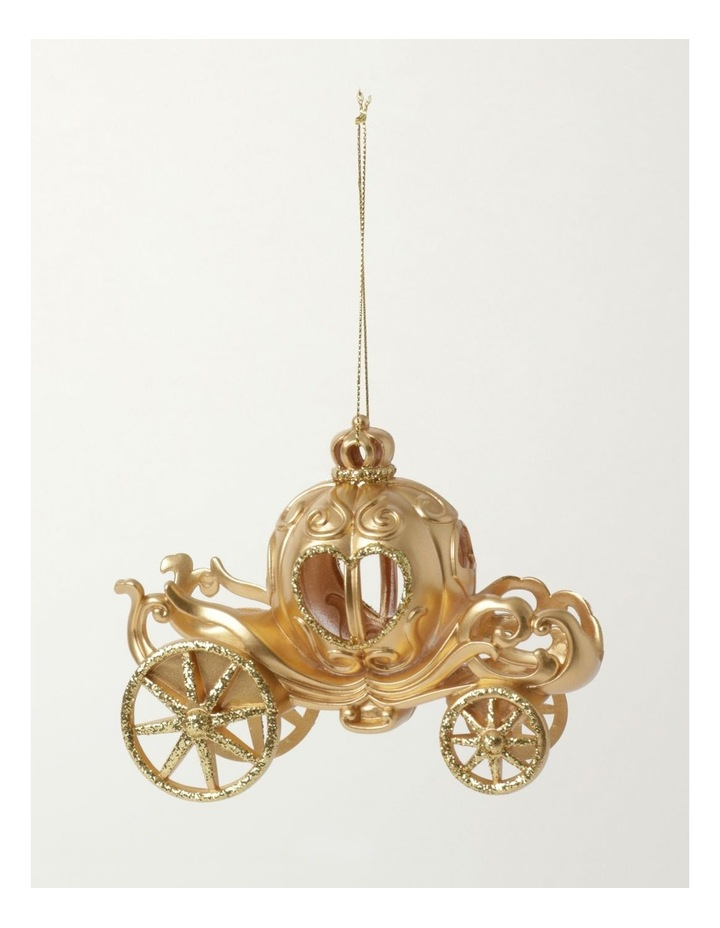 Luxe Plastic Royal Carriage Ornament- Gold: 13cm image 2