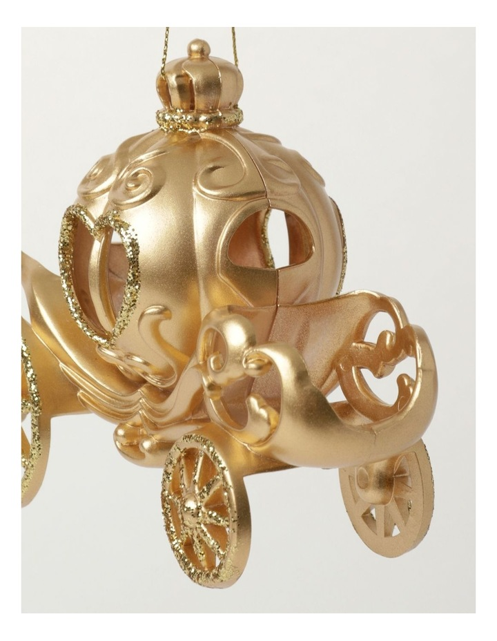 Luxe Plastic Royal Carriage Ornament- Gold: 13cm image 3