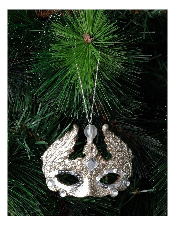 Luxe Plastic Glittered Mask Ornament- Champagne: 7 cm image 1