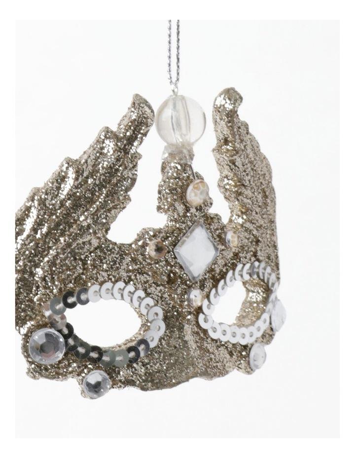 Luxe Plastic Glittered Mask Ornament- Champagne: 7 cm image 3