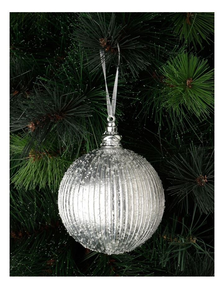 Luxe Plastic Sugar Frosted Ribbed Bauble - Silver: 10 cm image 1