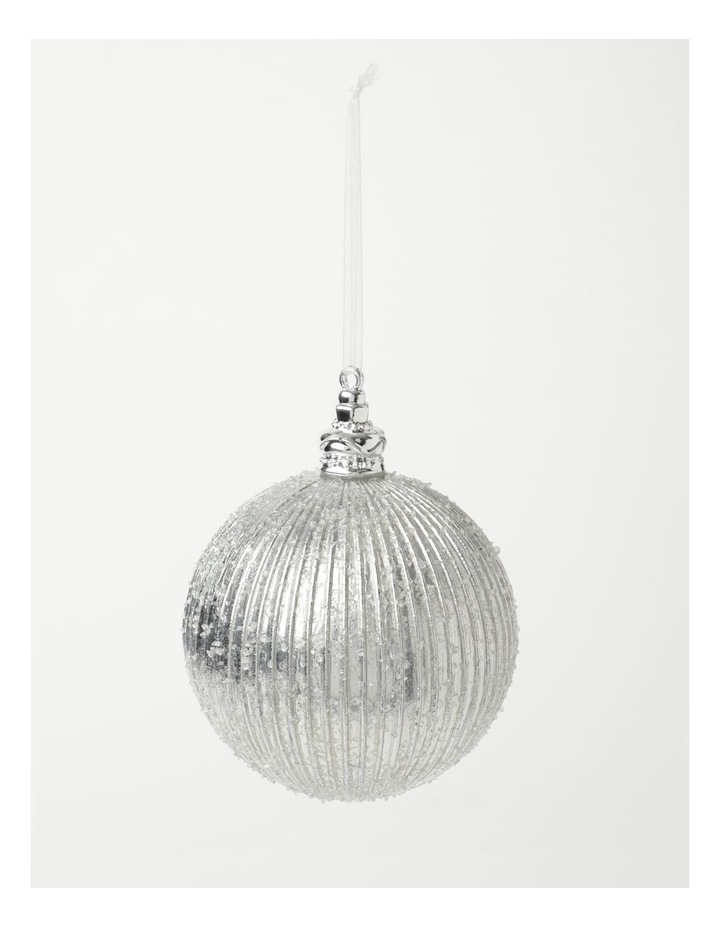 Luxe Plastic Sugar Frosted Ribbed Bauble - Silver: 10 cm image 2