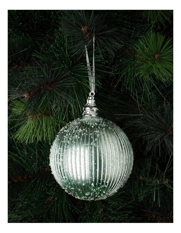 Luxe Plastic Sugar Frosted Ribbed Bauble - Mint: 10 cm image 1