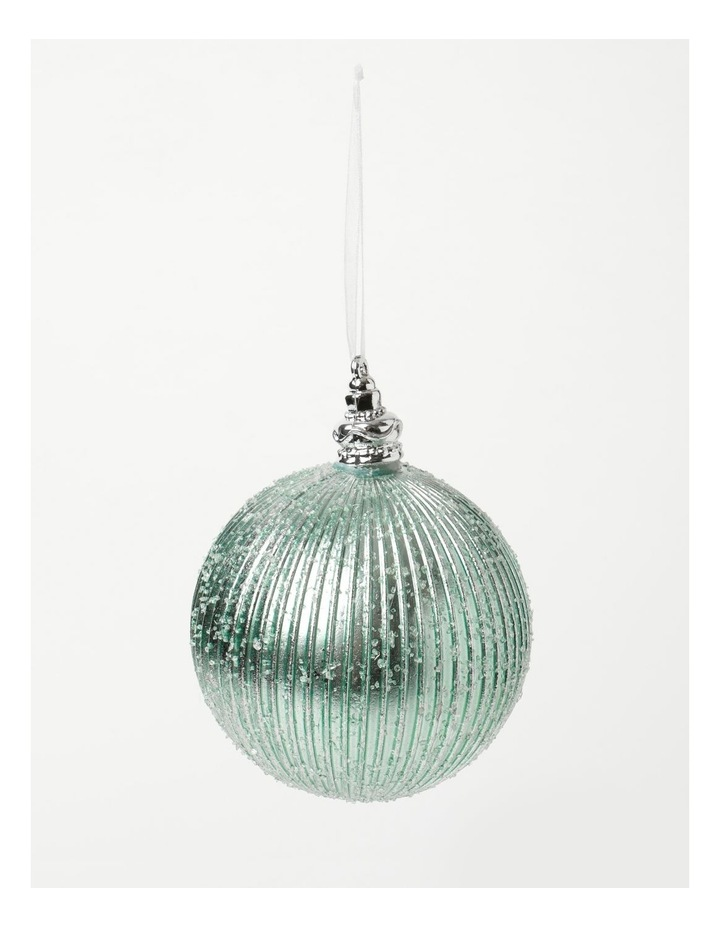 Luxe Plastic Sugar Frosted Ribbed Bauble - Mint: 10 cm image 2