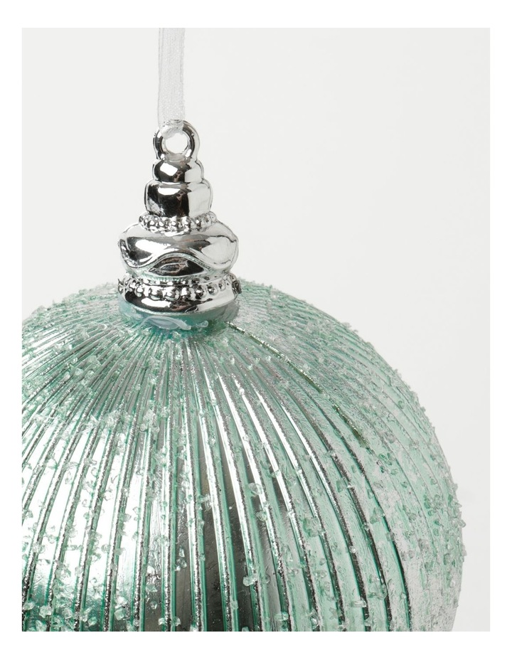 Luxe Plastic Sugar Frosted Ribbed Bauble - Mint: 10 cm image 3