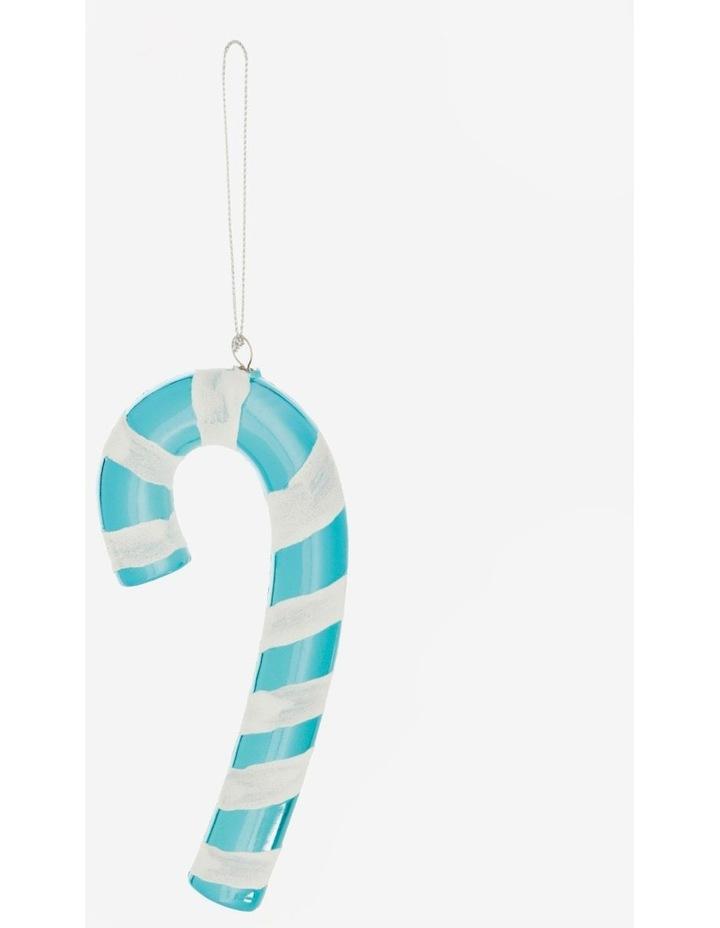 Merry & Bright Plastic Candy Cane Ornament- Blue: 14 cm image 2