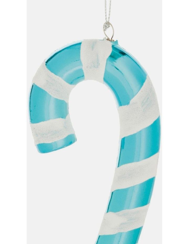 Merry & Bright Plastic Candy Cane Ornament- Blue: 14 cm image 3
