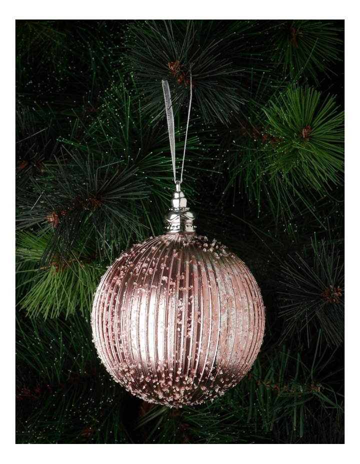 Luxe Plastic Sugar Frosted Ribbed Bauble - Pink: 10 cm image 1