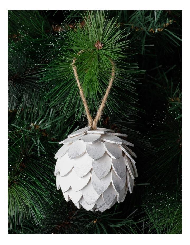 Eucalyptus Plywood Pinecone Ornament- White: 9cm image 1