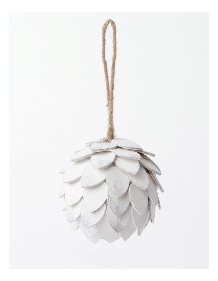 Eucalyptus Plywood Pinecone Ornament- White: 9cm image 2