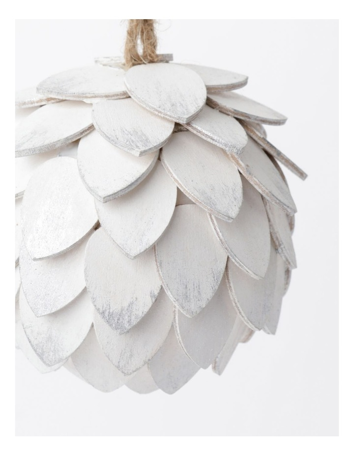 Eucalyptus Plywood Pinecone Ornament- White: 9cm image 3