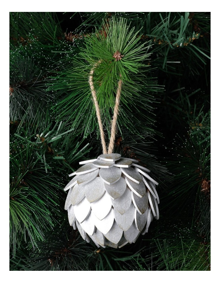 Eucalyptus Plywood Pinecone Ornament- Silver: 9cm image 1