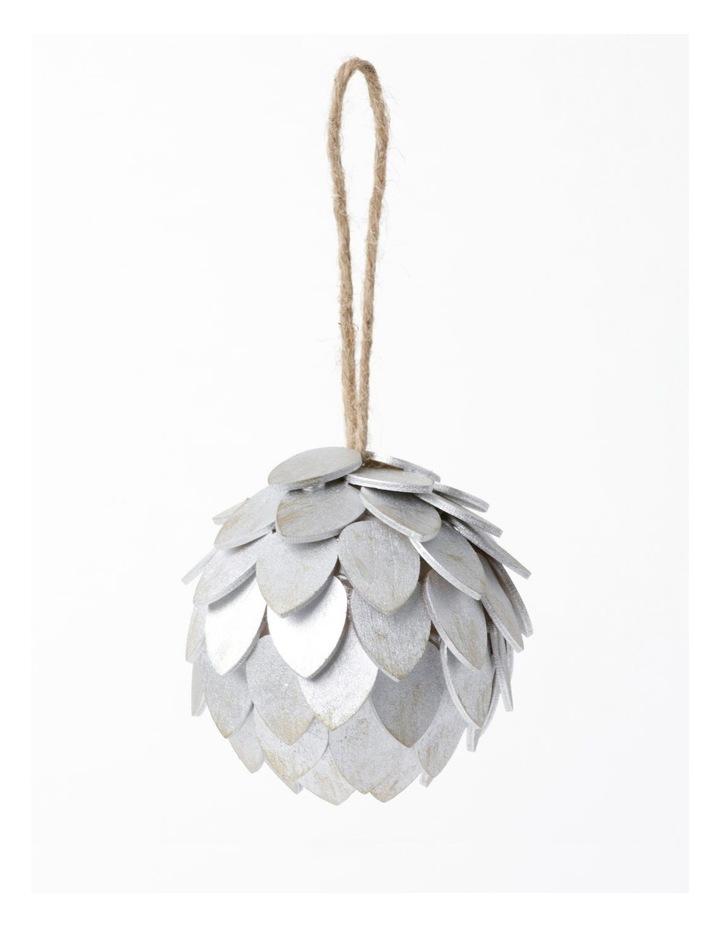 Eucalyptus Plywood Pinecone Ornament- Silver: 9cm image 2