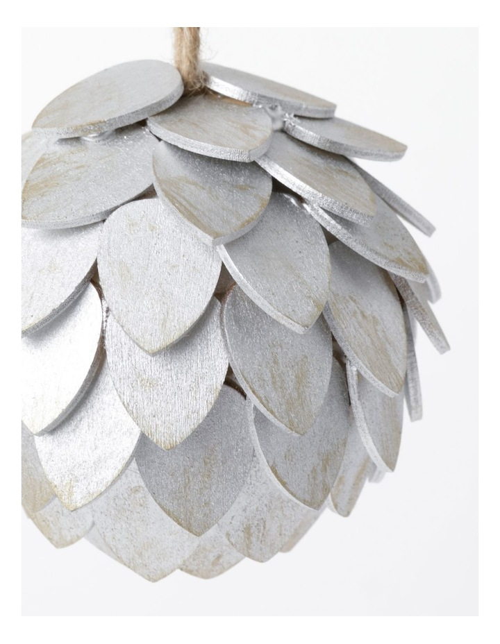 Eucalyptus Plywood Pinecone Ornament- Silver: 9cm image 3
