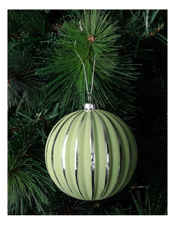 Eucalyptus Plastic Stripe Bauble Ornament- Green/Silver: 10cm image 1