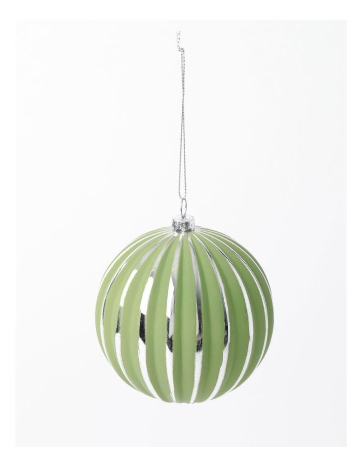 Eucalyptus Plastic Stripe Bauble Ornament- Green/Silver: 10cm image 2