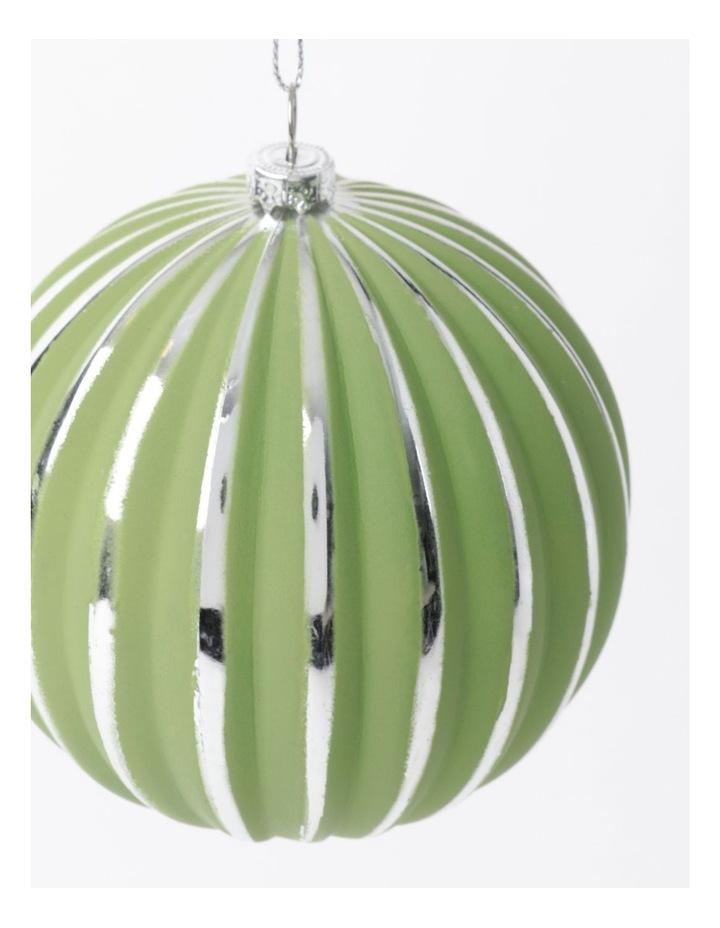 Eucalyptus Plastic Stripe Bauble Ornament- Green/Silver: 10cm image 3