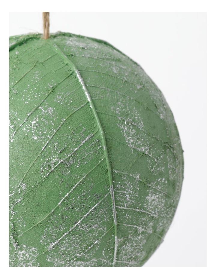 Eucalyptus Plastic Leaf Wrapped Bauble- Green: 12cm image 3
