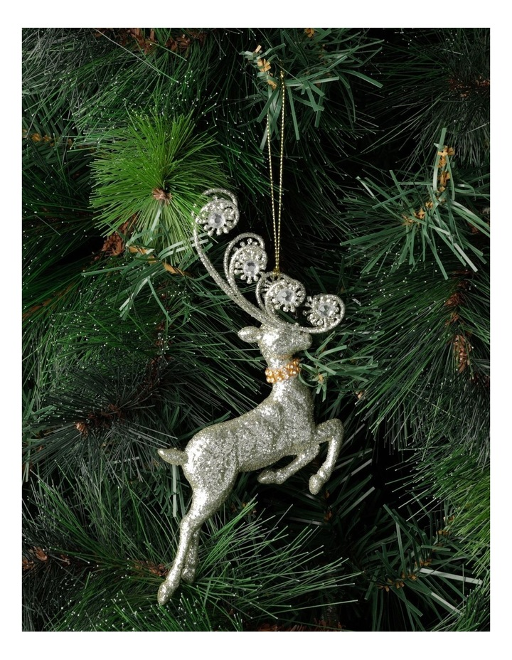 Luxe Plastic Leaping Reindeer Ornament- Silver: 17cm image 1