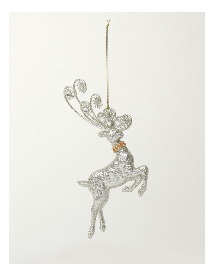 Luxe Plastic Leaping Reindeer Ornament- Silver: 17cm image 2