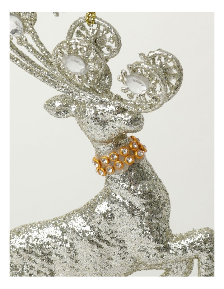 Luxe Plastic Leaping Reindeer Ornament- Silver: 17cm image 3