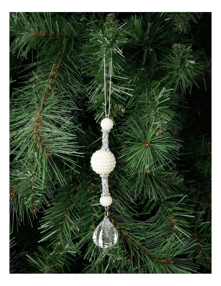 Luxe Drop Pearl And Crystal Hanging Ornament image 2