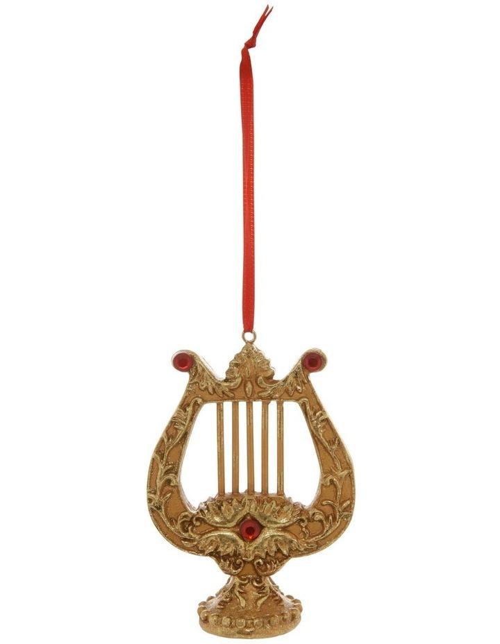 Heirloom Antiqued Gold Lyre Hanging Ornament image 1
