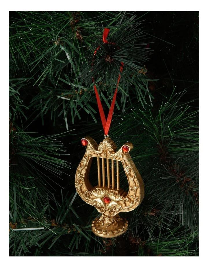 Heirloom Antiqued Gold Lyre Hanging Ornament image 3
