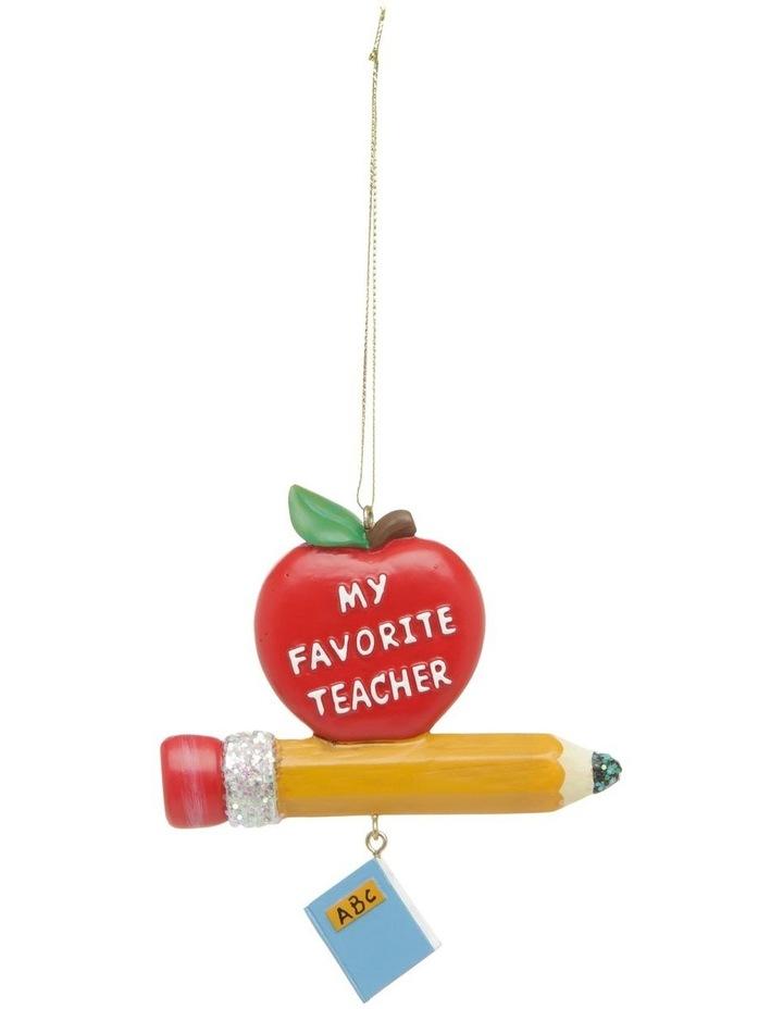 Merry & Bright Teacher's Apple & Pencil Hanging Ornament image 1